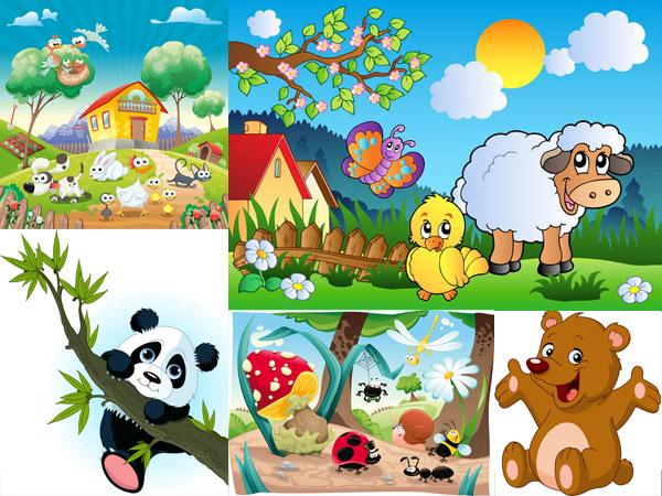 矢量图,卡通,可爱,动物,小狗,小鸡,树木,树枝,大树,枝桠,蓝天,白云