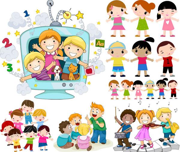 开心玩耍的可爱卡通小朋友矢量素材免费下载,矢量素材,矢量图,卡通,可爱,人物,小孩,儿童,小朋友,小男孩,小女孩,小学生,乐器,演奏,击鼓,小提琴,音乐,音符,萨克斯,电视机,手拉手,手牵手,创意设计,EPS