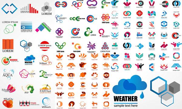 多款缤纷色彩标志创意设计矢量素材,矢量素材,矢量图,创意设计,logo图片