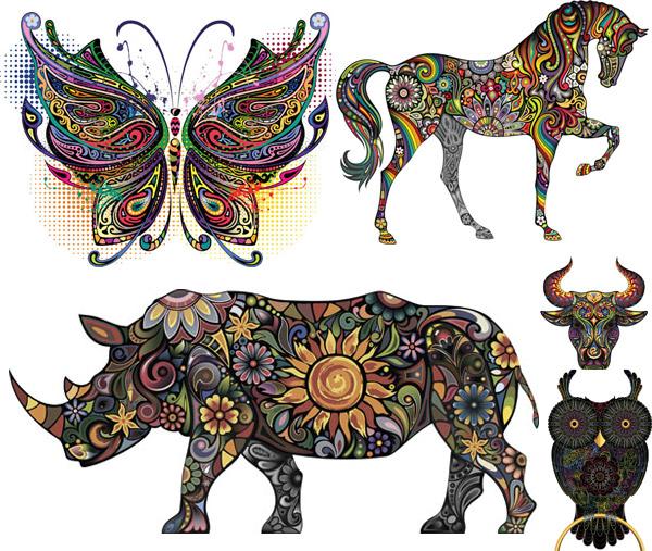矢量图,创意设计,彩色,炫彩,炫丽,刺青,纹身,花纹,图案,动物,蝴蝶