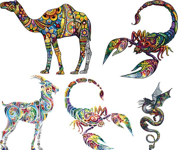 矢量素材,矢量图,创意设计,彩色,炫彩,炫丽,刺青,纹身,花纹,图案,动物
