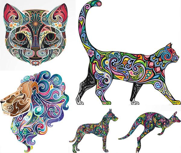 矢量图,创意设计,彩色,炫彩,炫丽,刺青,纹身,花纹,图案,动物,猫头