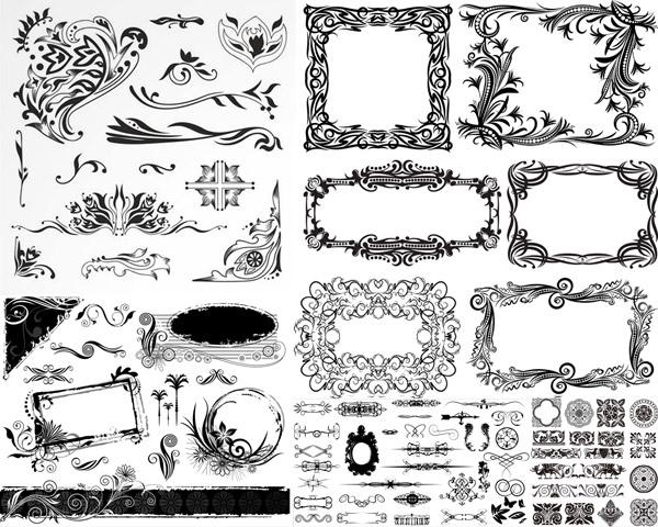 矢量素材,矢量图,黑白,黑色,花纹,花边,纹饰,装饰,欧式,复古,怀旧,eps