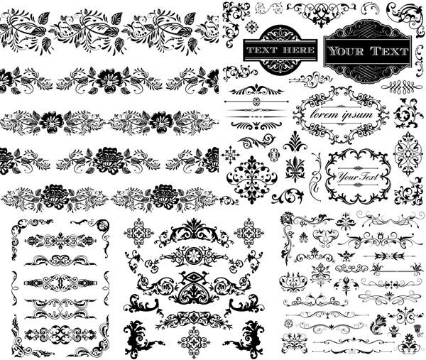 矢量图,黑白,黑色,花纹,花边,纹饰,装饰,边框,边角,无缝,欧式,复古
