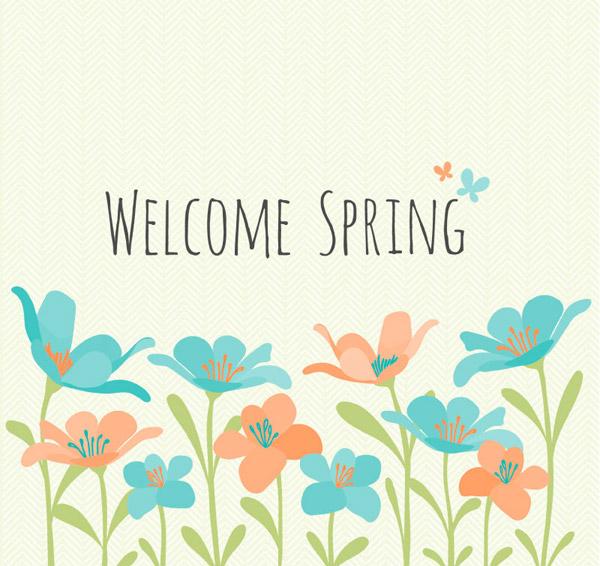 欢迎春天的花丛