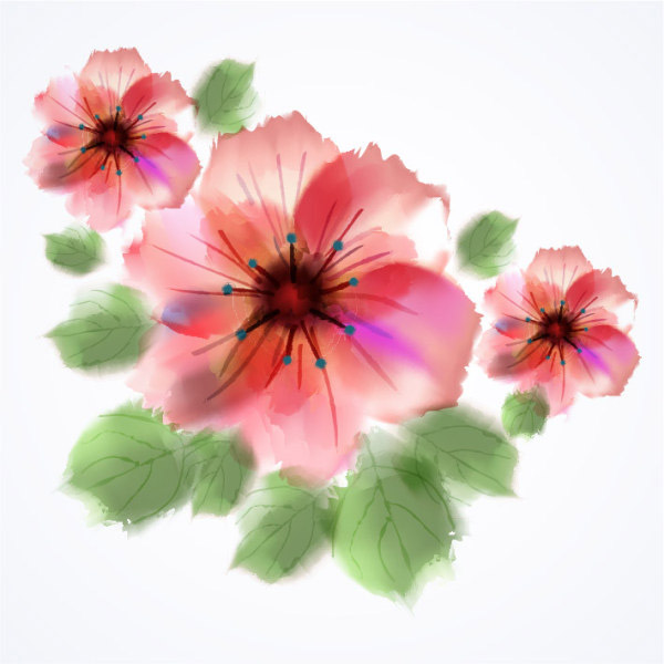 矢量绘画所需点数: 0 点 关键词: 水彩手绘花,水彩,手绘,花,春天,eps
