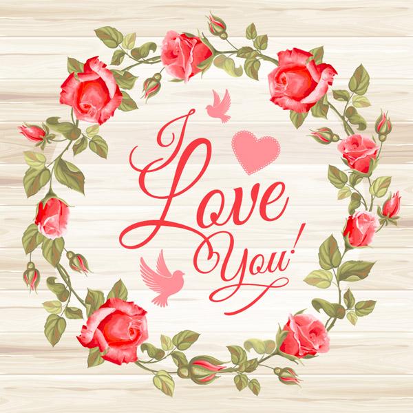 关键词: 红色玫瑰花环矢量素材,鸽子,爱心,红玫瑰,玫瑰花,花环,木纹
