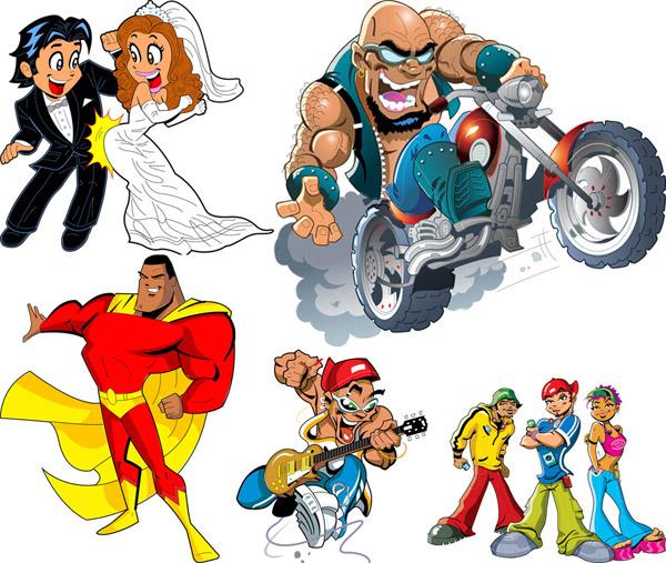 卡通,人物,摩托车