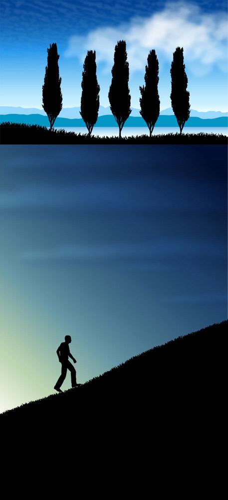 素材分类: 矢量自然风景所需点数: 0 点 关键词: 黎明景色剪影矢量