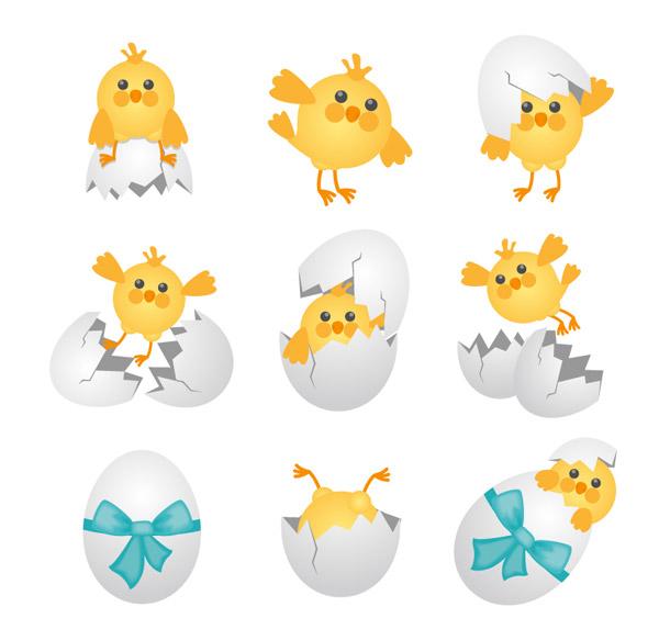 素材分类: 矢量卡通动物所需点数: 0 点 关键词: 卡通雏鸡和蛋壳矢量