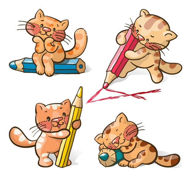 卡通猫咪与铅笔
