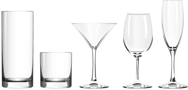 高脚杯,香槟酒杯,鸡尾酒杯,玻璃杯,啤酒杯,水杯,玻璃杯,矢量图,eps