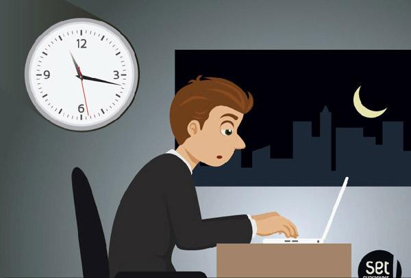 夜晚,月亮,加班,工作,建筑,办公室,电脑,办公桌,商务,男子,瞌睡,矢量