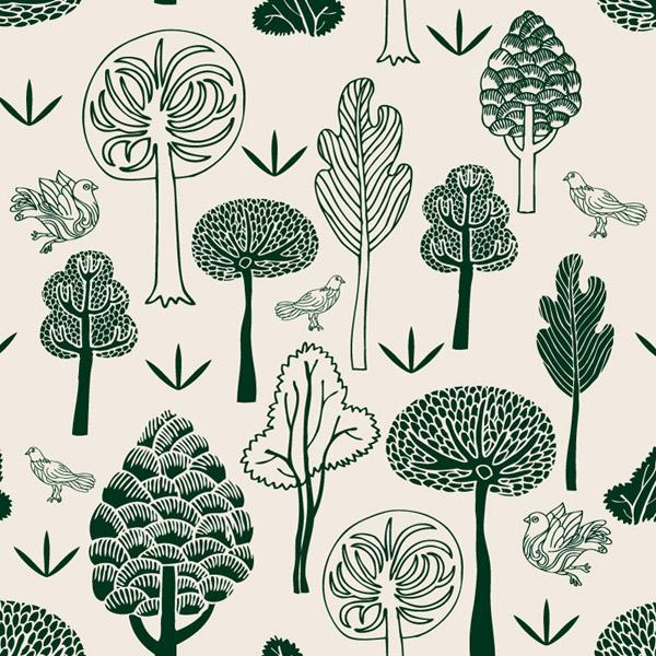 手绘森林与鸽子矢量素材下载