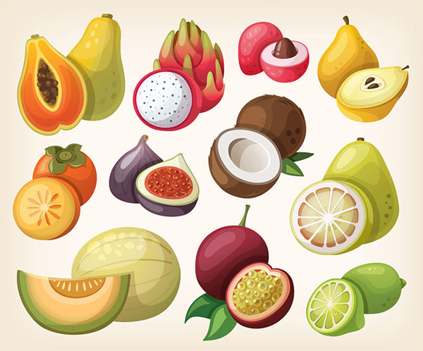 时尚卡通水果插画矢量素材