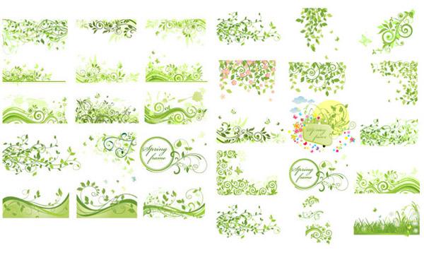 树叶藤蔓边框简笔画-春季绿色花纹