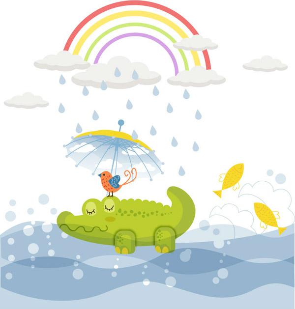素材分类: 卡通矢量插画所需点数: 0 点 关键词: 童趣绿色鳄鱼插画