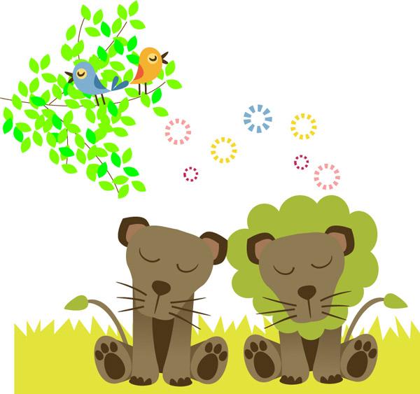0 点 关键词: 卡通草原狮子矢量素材下载,草原,树木,狮子,鸟,动物