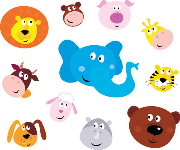 狮子,大象,猪,猴子,长颈鹿,奶牛,绵羊,老虎,河马,狗,头像,动物,矢量图