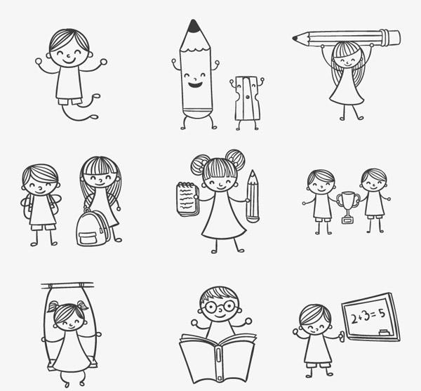 手绘玩耍的儿童