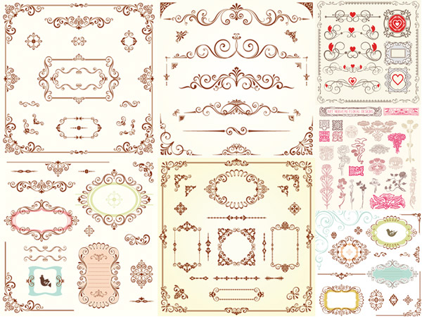 矢量花纹所需点数: 0 点 关键词: 古典装饰花纹矢量素材,欧式花纹,花