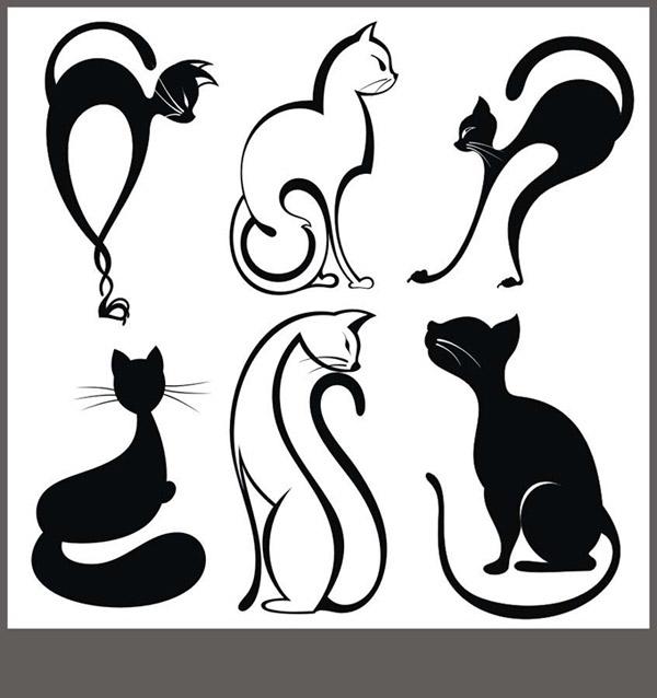 猫头像纹身图案图片_可爱猫头像