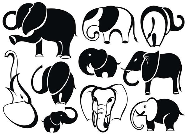 可爱的大象动物插画矢量素材
