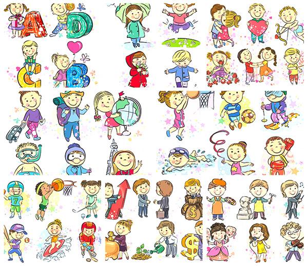 矢量儿童幼儿所需点数: 0 点 关键词: 时尚手绘儿童人物矢量素材