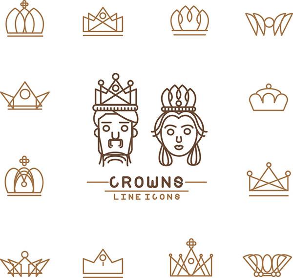 皇冠標志設計素材,尊貴,歐式皇冠,王者象征,國王,皇后,線性王冠,eps