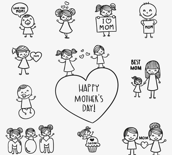 手绘母亲节人物