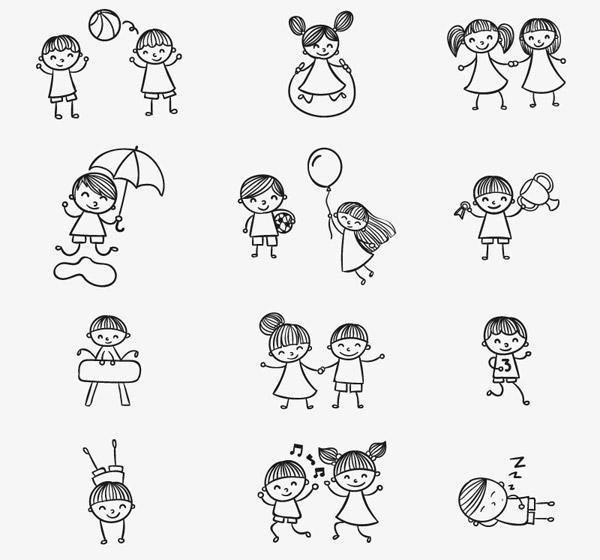动物跑步儿童画