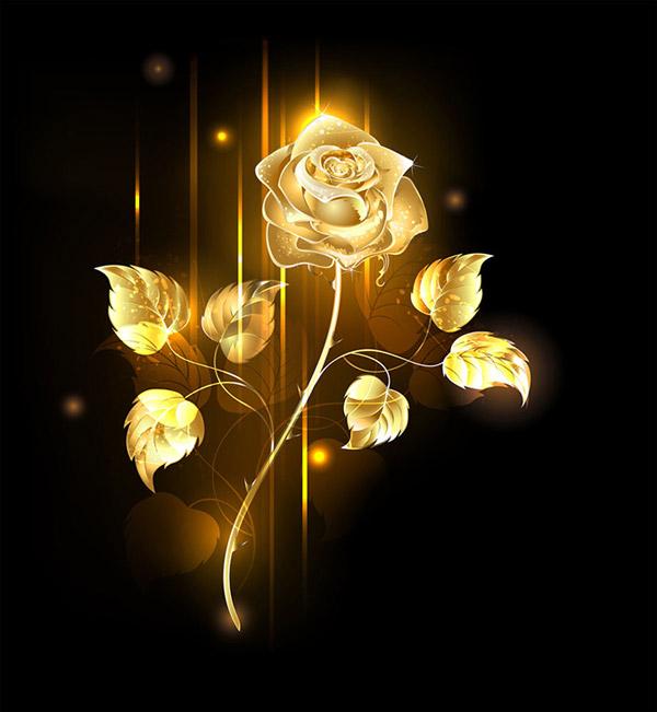 0 點 關鍵詞: 黃金玫瑰花設計素材,黃金質感,金屬質感,夢幻背景,花朵