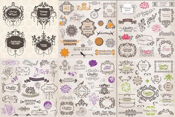 矢量花纹所需点数: 0 点 关键词: 古典花卉图案素材,玫瑰花,欧式花纹
