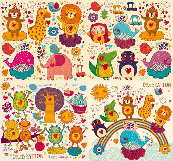 手绘卡通图案矢量素材,手绘,卡通,可爱,图案,形象,动物,花朵,心,小熊,鸟,太阳,海洋,彩虹,鲸鱼,企鹅,鳄鱼,长颈鹿,狮子,叶子,树,帆船,青蛙,树枝,叶子,鸟,小草,鲸鱼,大象,狮子,矢量素材,猫头鹰