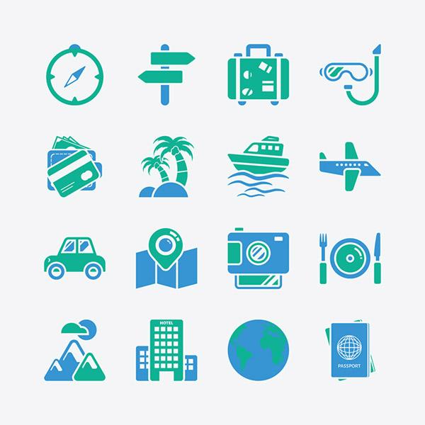 夏日主题图标素材,个性图标,指南针,行李箱,潜水眼镜,椰树,轮船,飞机