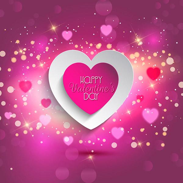 紫色背景,梦幻光斑,光效,浪漫心形,爱心,214情人节,情人节贺卡,情人节