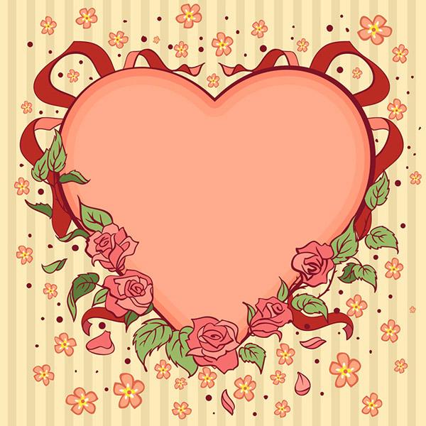 手绘风格心形设计矢量素材,爱心背景,桃心花朵,214情人节,情人节礼物