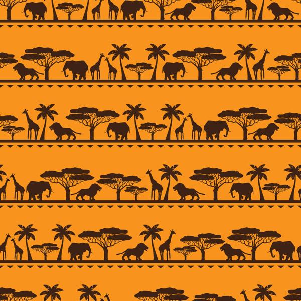 非洲动物无缝背景矢量素材下载
