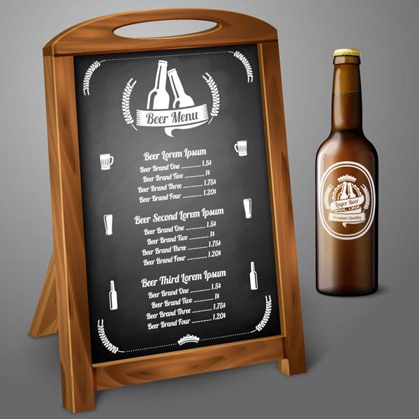 黑板酒水单和啤酒