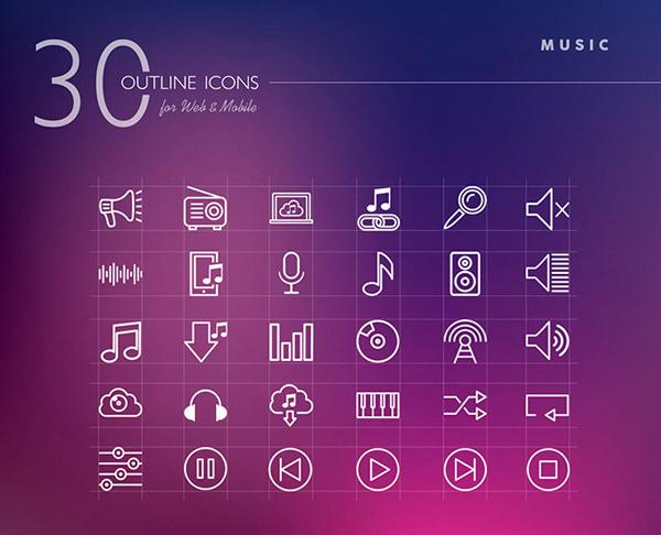 音乐图标,个性图标,线性图标,手机图标,喇叭,收音机,音乐符号,下载