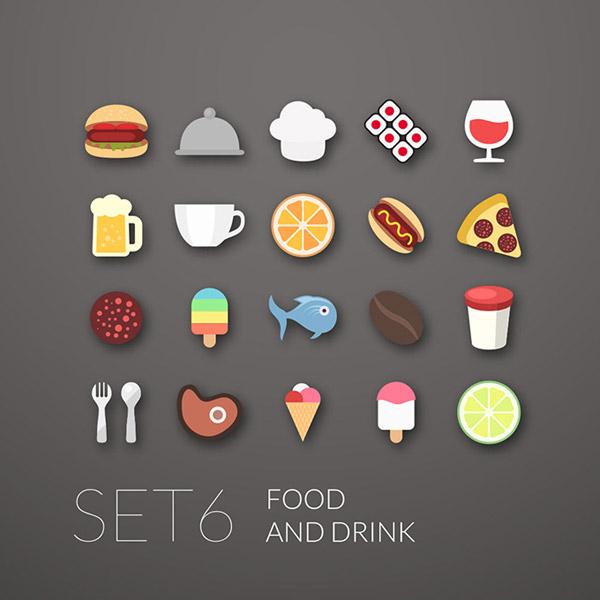 时尚快餐美食图标矢量素材,快餐美食图标,汉堡包,扁平化图标,按钮