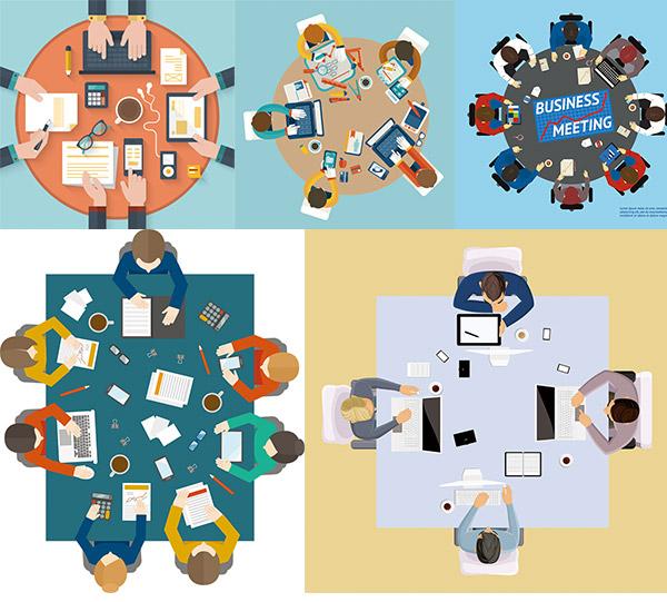 卡通人物,职业人物,商务团队,办公场景,开会商务,会议商务,金融扁平化