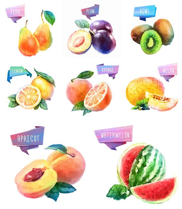 水彩水果设计矢量素材,水彩插画,水彩,水果,新鲜水果,柠檬,木瓜,西瓜
