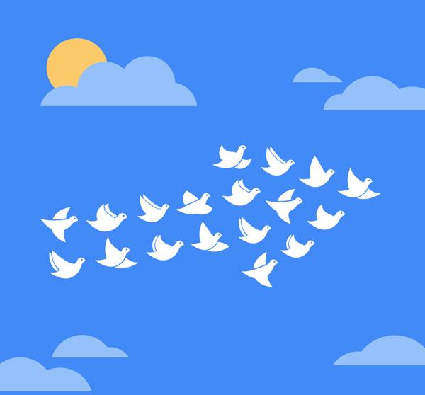 素材分类: 矢量野生动物所需点数: 0 点 关键词: 蓝天下的白鸽群矢量