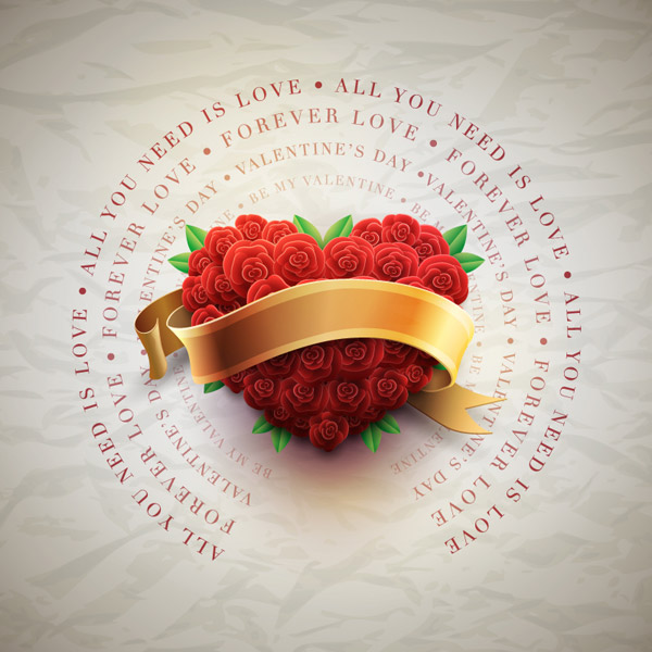 爱心玫瑰与丝带