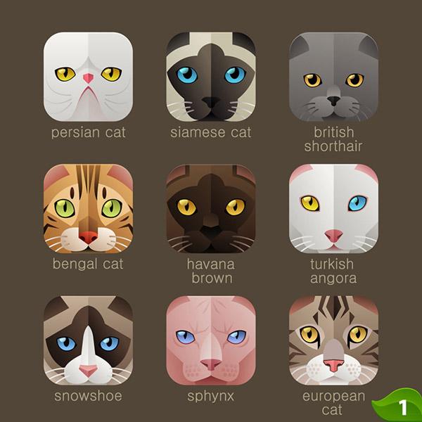 0 点 关键词: 猫咪图标设计矢量素材,卡通动物,头像,app图标,猫咪