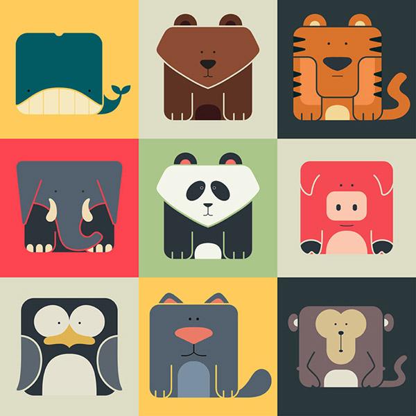 卡通动物,头像