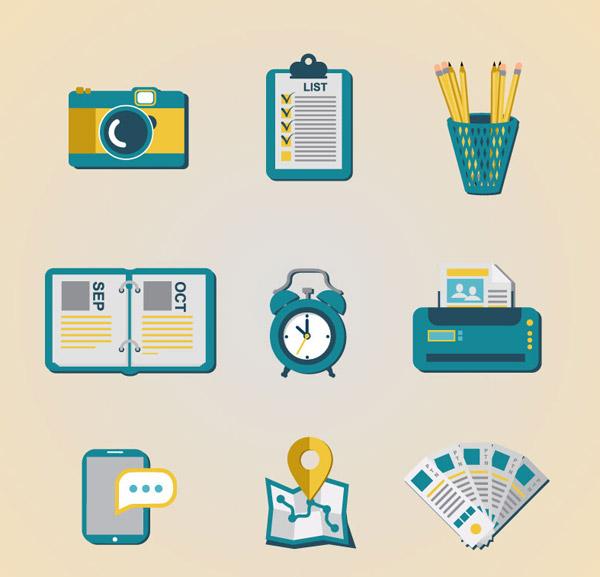 照相机,记事本,笔筒,日历,闹钟,打印机,色标卡,地图,手机,图标,矢量图