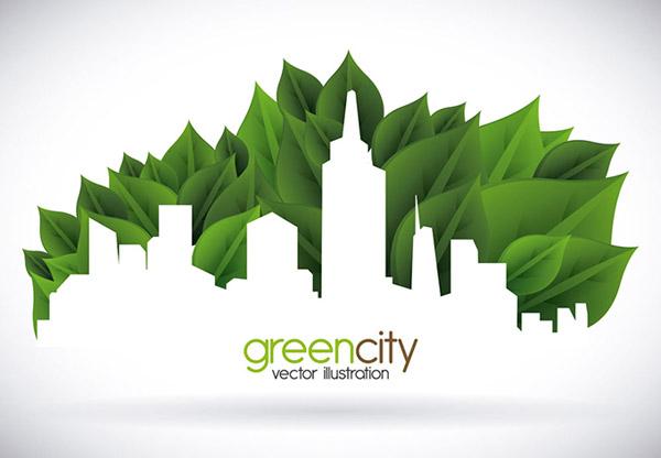 绿色叶子与城市剪影矢量素材
