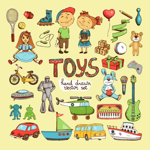 彩色手绘玩具